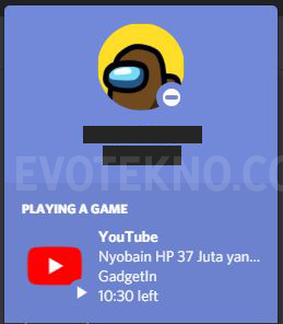 Youtube game activity di discord