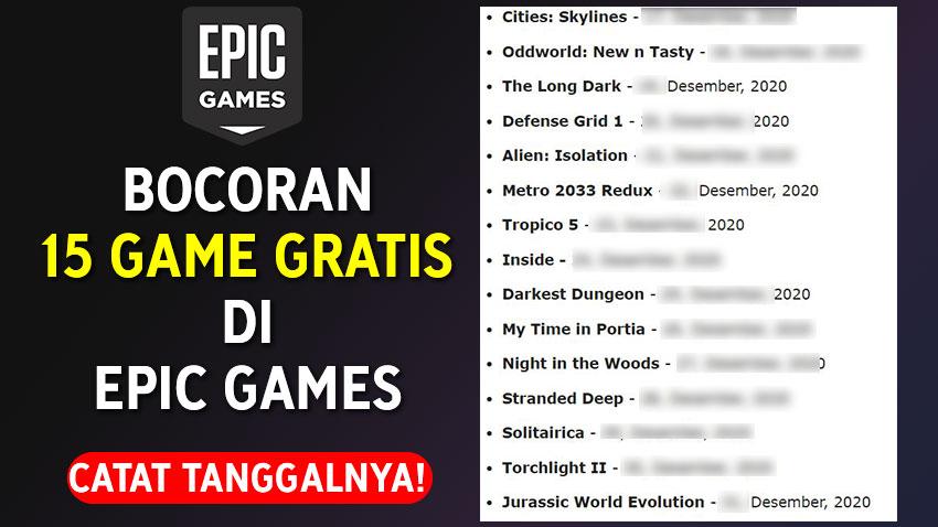 Bocoran 15 Game Gratis di Epic Games Store, Paling Akurat!