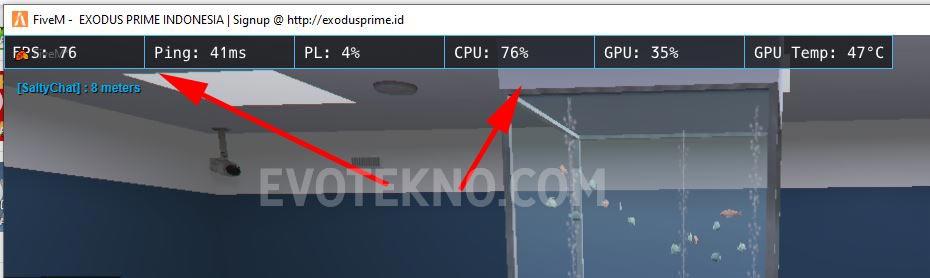 Menampilkan FPS, Ping, CPU, GPU Monitor di GTA 5 FiveM