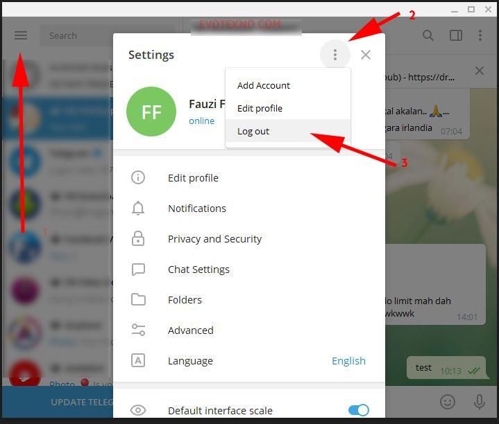 Cara Log out Telegram Desktop
