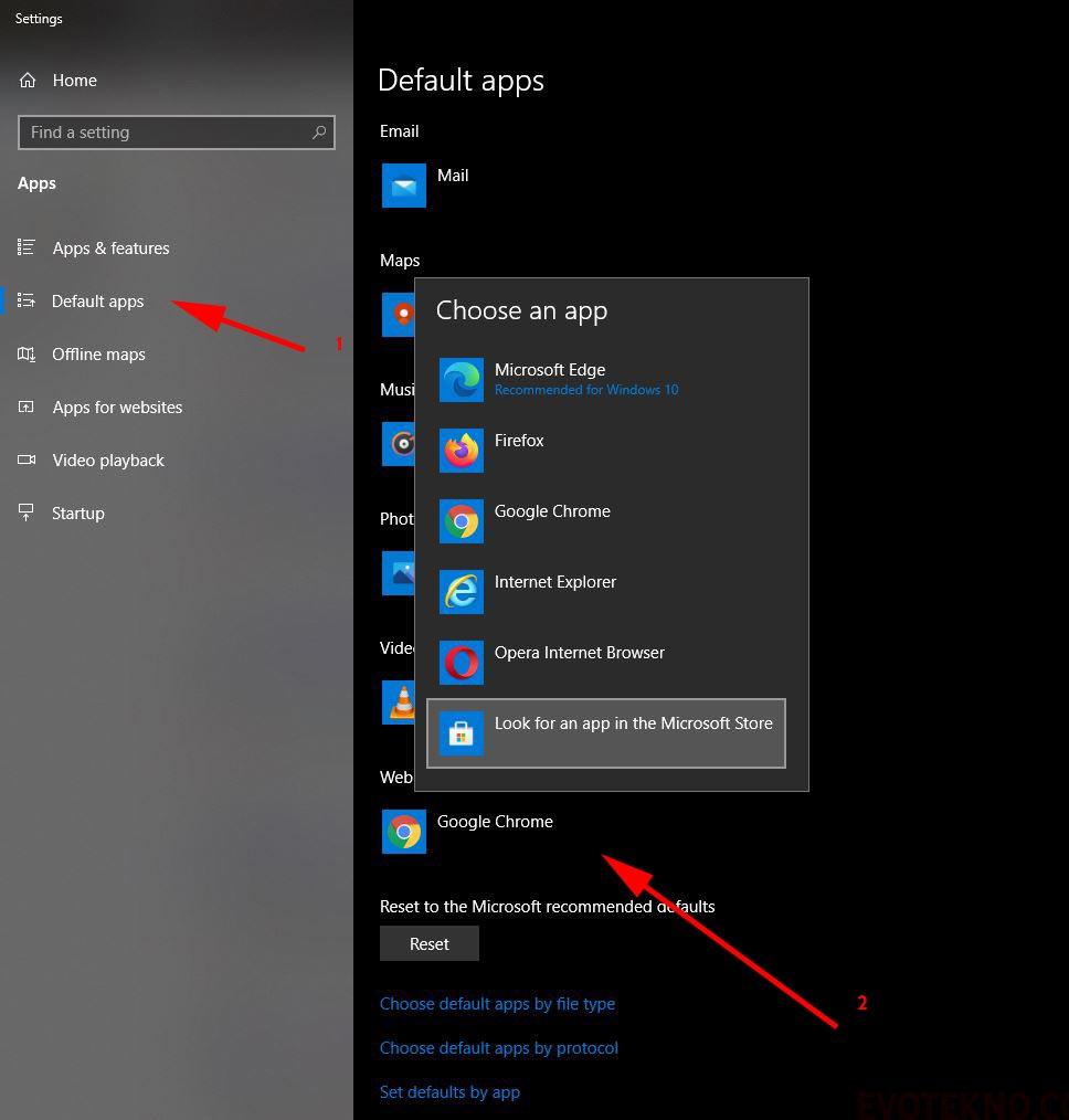 Default Apps - Web Browser - Google Chrome - Windows 10
