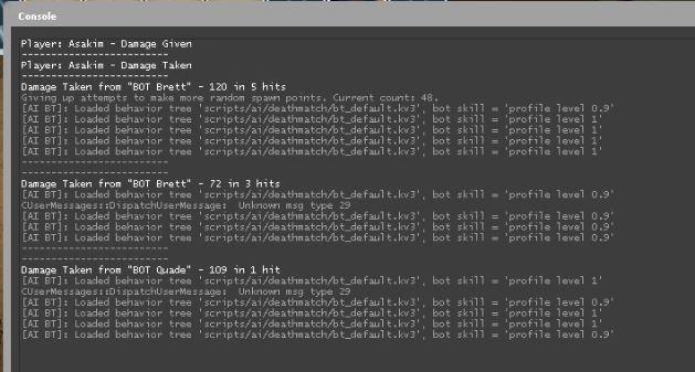 Konsol CS GO- Damage Given Taken