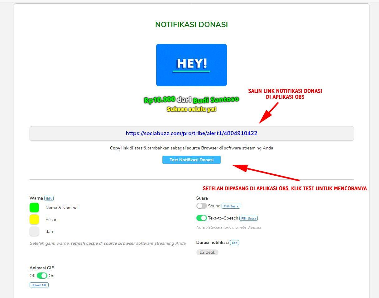 Mengatur Overlay Notifikasi Donasi SociaBuzz Untuk OBS