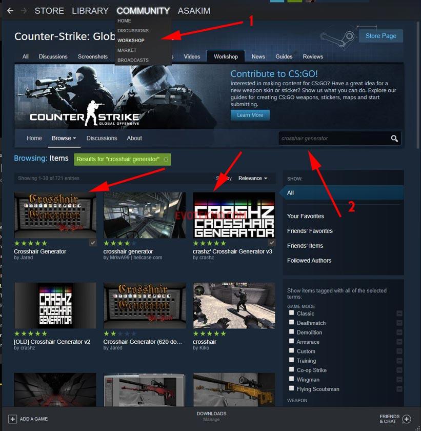 Steam - Workshop CS GO - Crosshair Generator