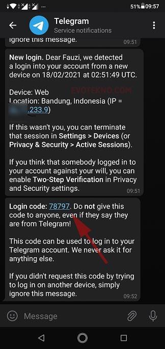 kode verifikasi telegram aplikasi