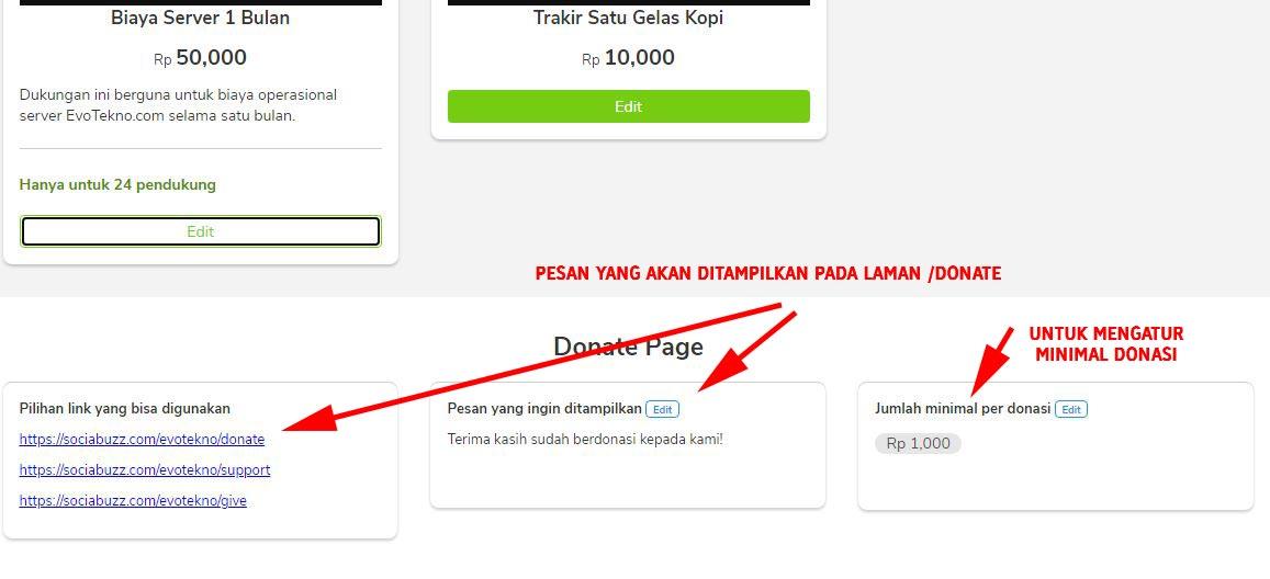 mengatur donate page sociabuzz tribe