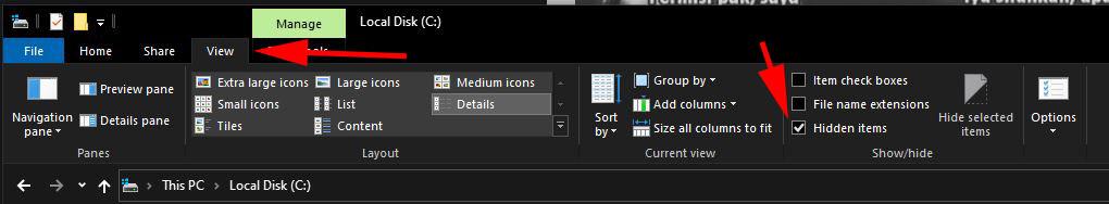 File Exlpoler - View - Hidden Items