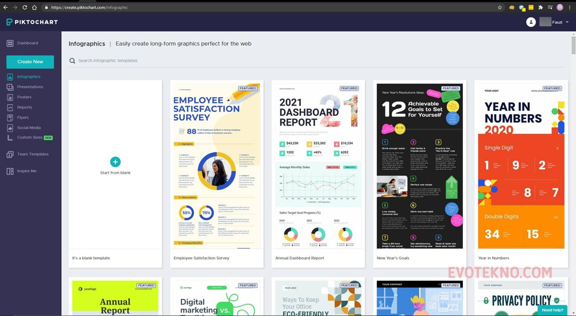 Halaman Template Kategori Infografis piktochart