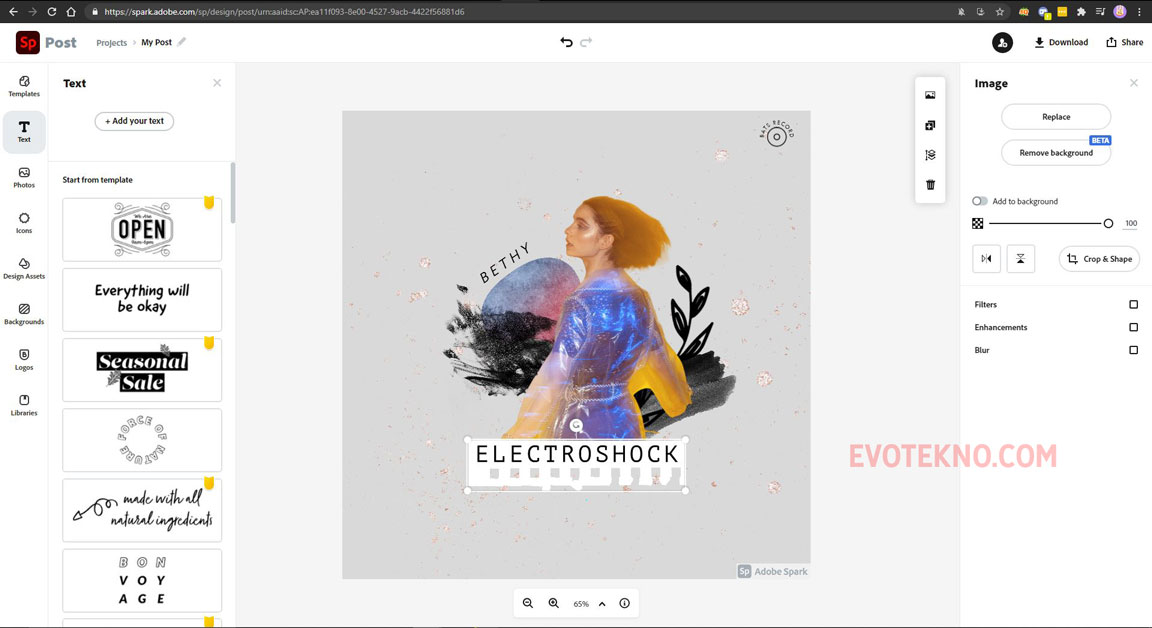 Halaman desain Adobe Spark