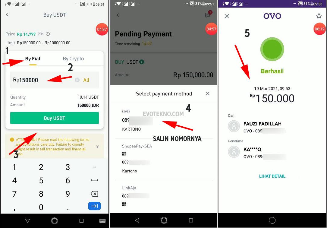 Masukan nominal - BUY - USDT - Transfer OVO - Deposit Binance
