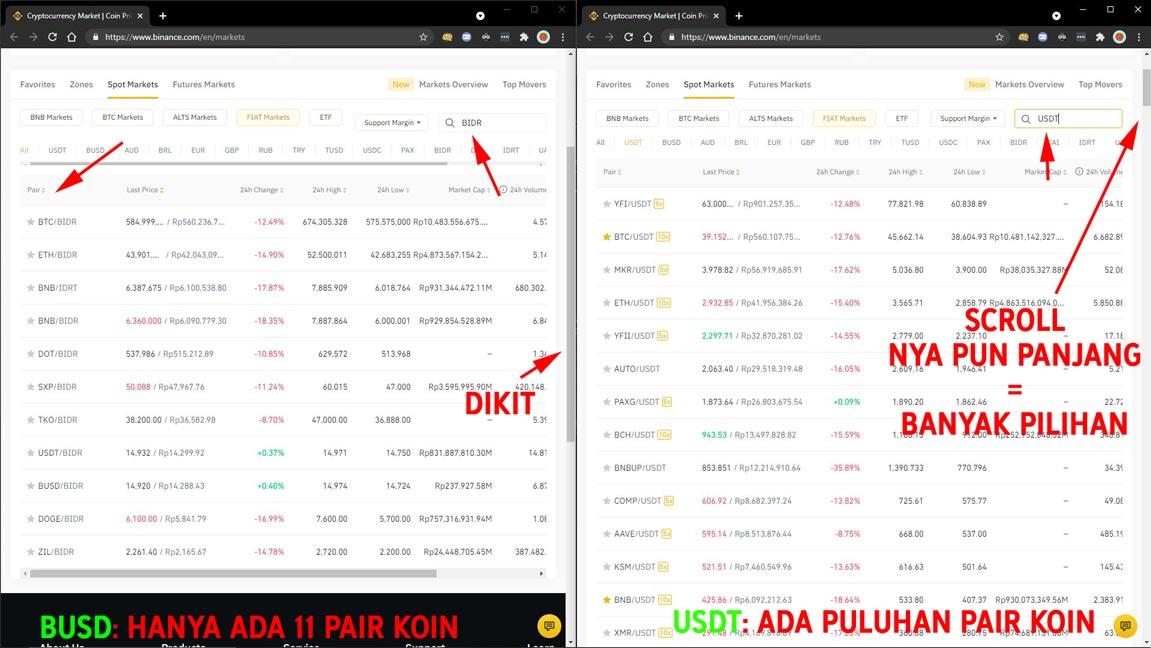 Perbedaan pilihan Pair untuk BIDR dan USDT - Binance