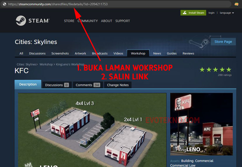 Salin Steam Workshop Cities Skylines - KFC Asset