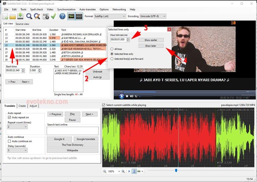 Adjut all time - memperbaiki subtitle yang tidak sinkron - subtitle edit