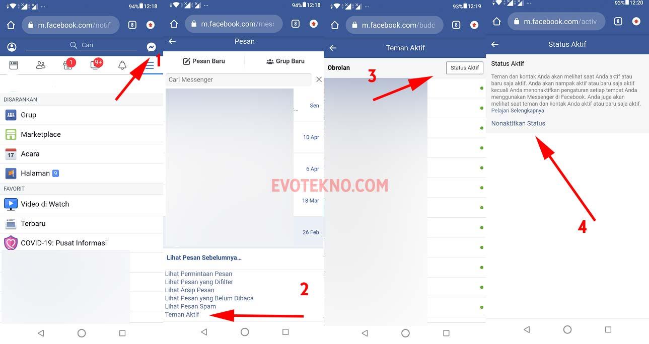 Chat - Teman Aktif - status aktif - facebook