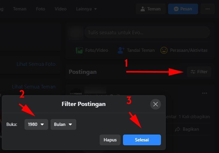 Filter - Pilih Tahun - Postingan Lama Facebook