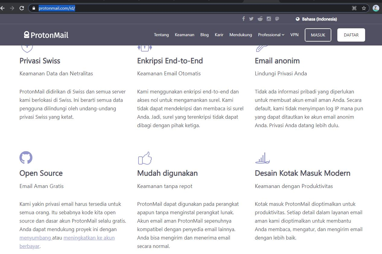 Halaman ProtonMail - EvoTekno