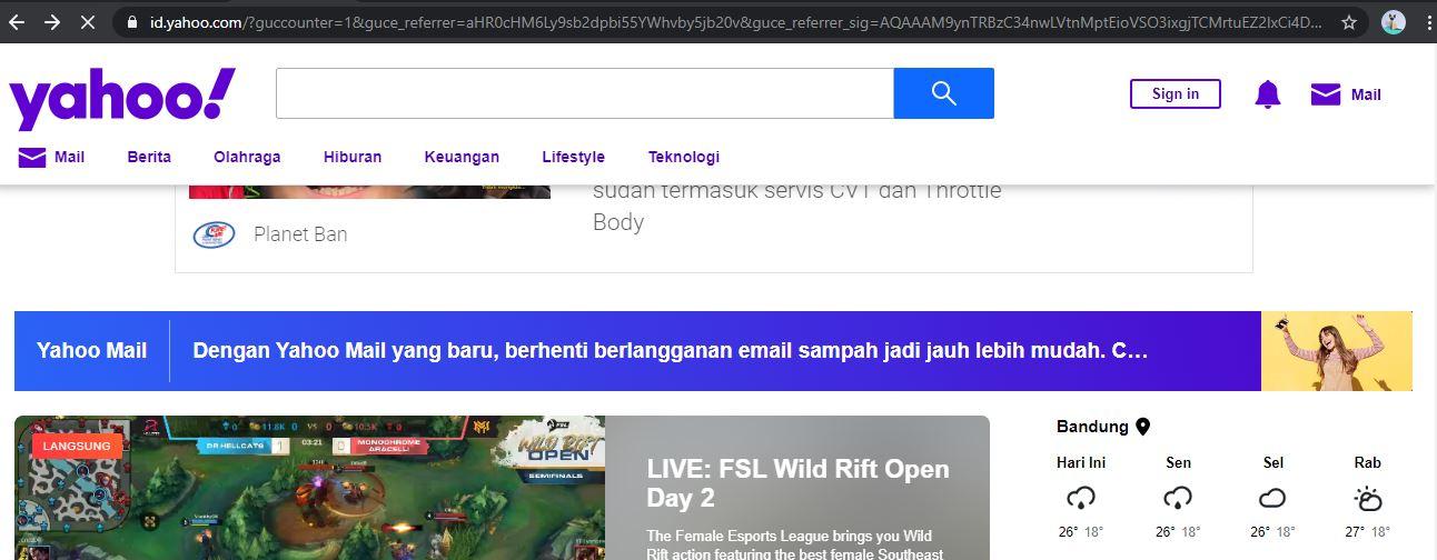 Halaman Yahoo - EvoTekno