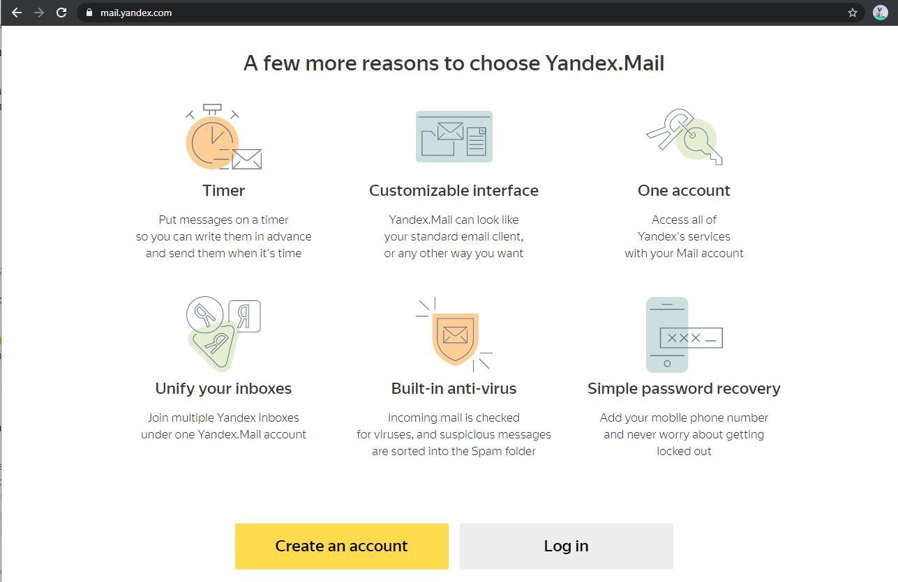 Halaman Yandex Mail - EvoTekno