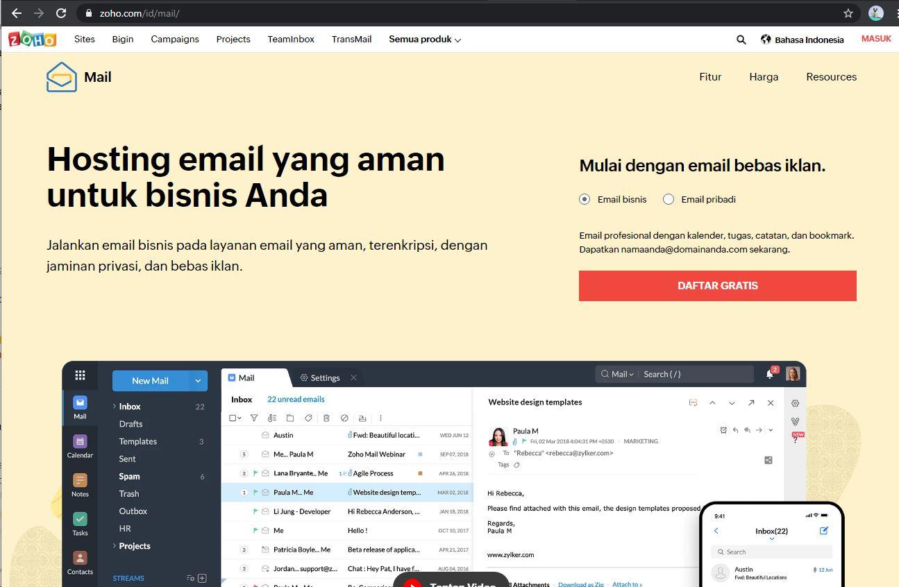 Halaman Zoho Mail - EvoTekno