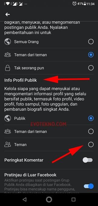 Info Profil Publik - Pengaturan Privasi Facebook