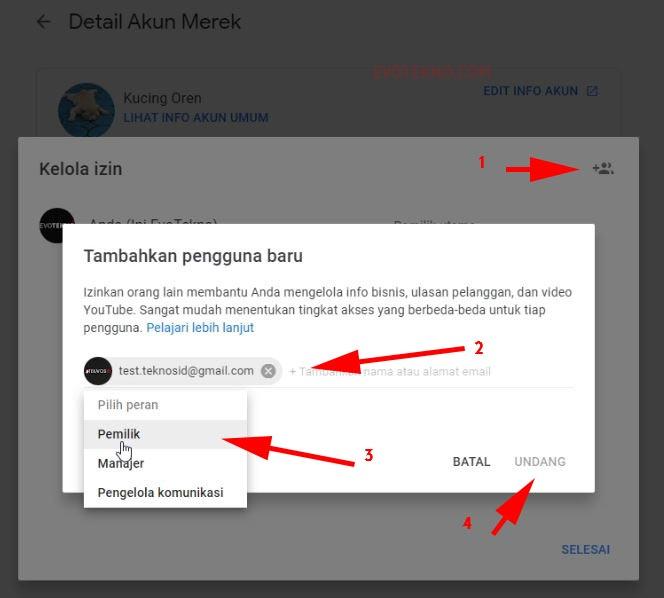 Menambahkan pemilik pada channel YouTube - tambah email