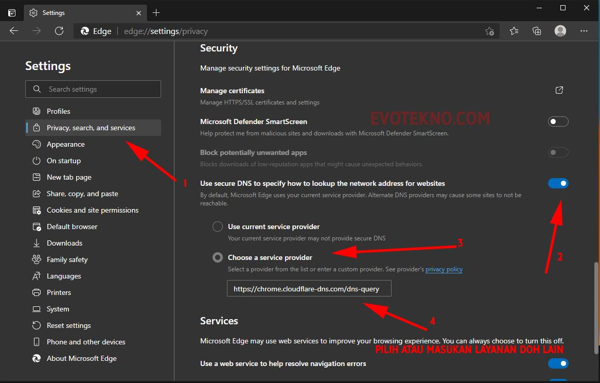 Microsoft Edge - Privacy, Serach and Services - Use secure DNS