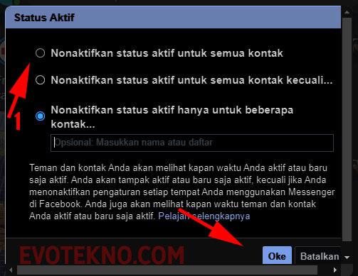 Nonaktifkan status aktif untuk semua kontak Facebook
