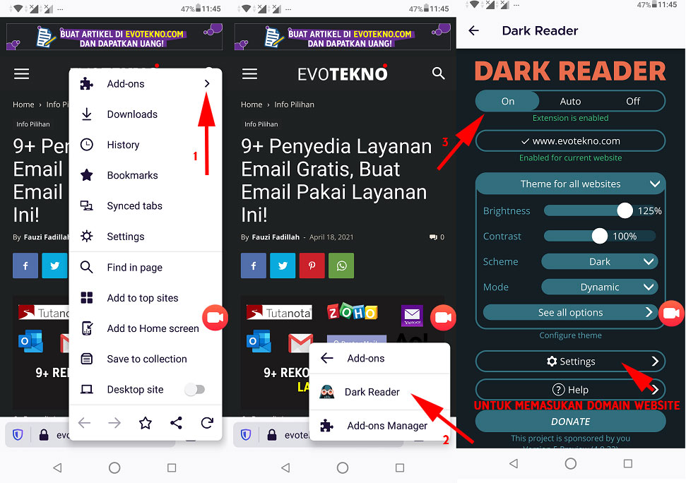 Dark Reader - Ekstensi Browser Firefox versi android (mobile)
