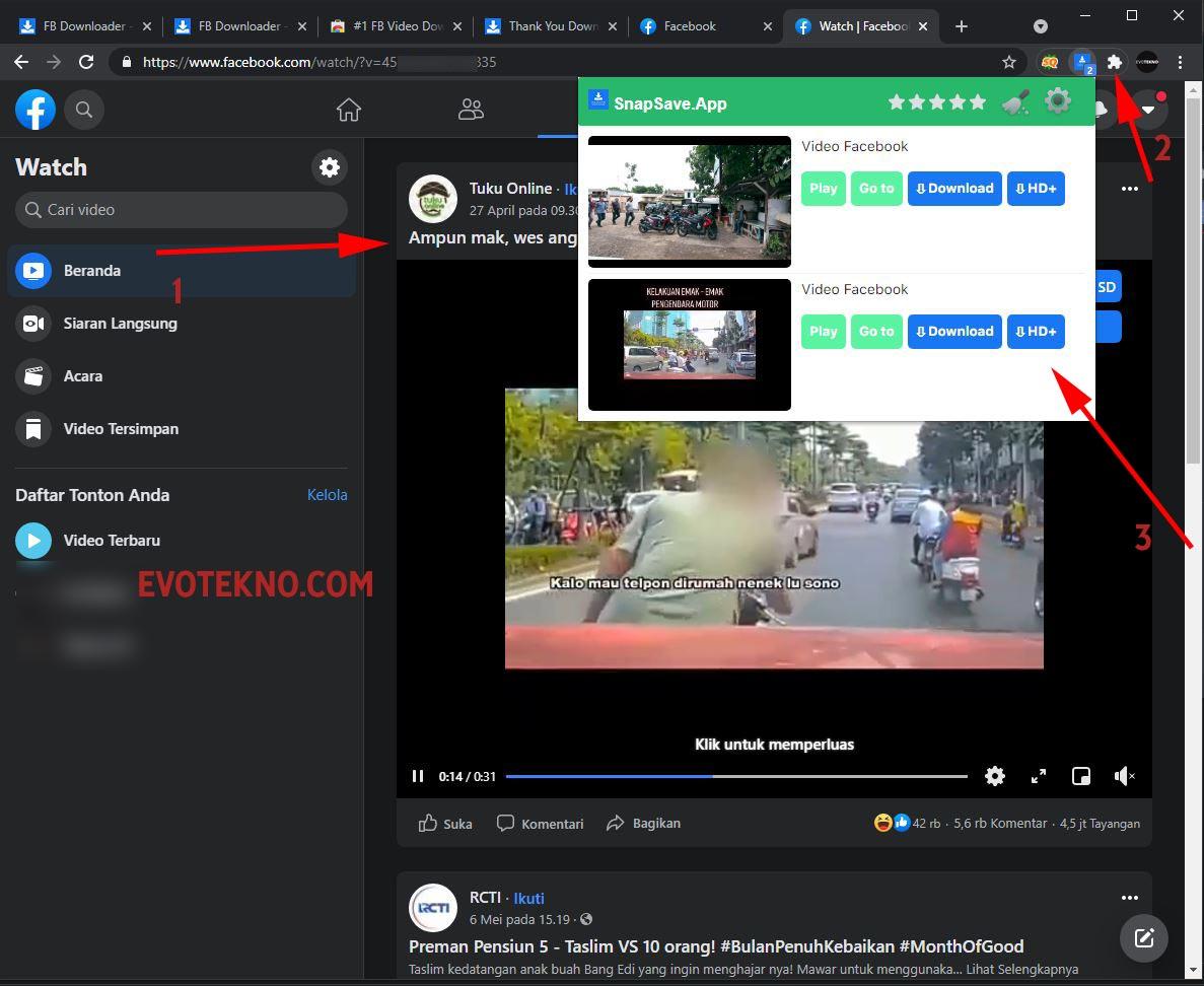 Ekstensi SnapSave - Facebook - Download Video