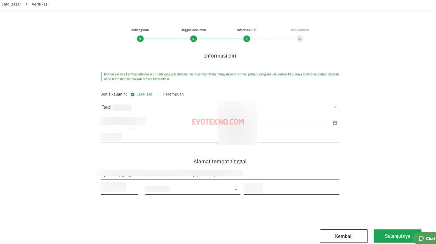 Informasi Diri - Verifikasi KYC1 - Tokocrypto