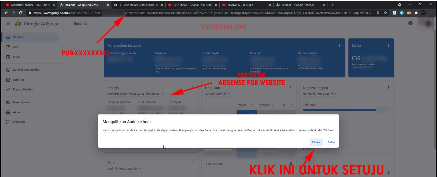 Klik Alihkan Untuk Menyetujuin Pengaitan Channel YouTube ke Google AdSense
