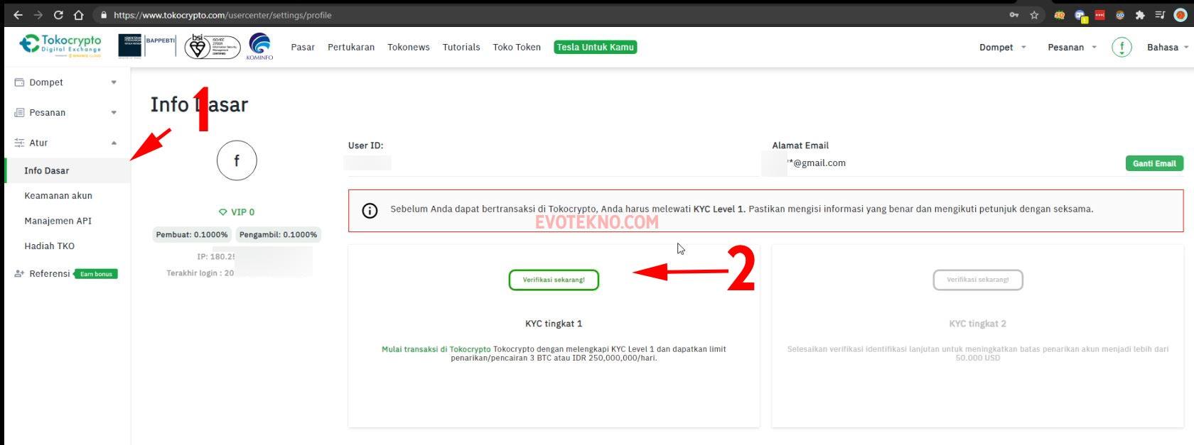 Klik Verifikasi Sekarang - Verifikasi KYC 1 - Tokocrypto