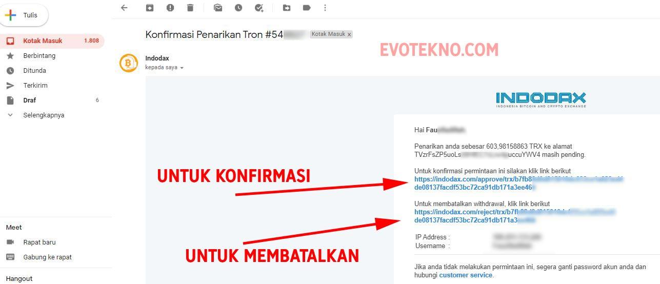 Klik link konfirmasi pengiriman koin dari Indodax ke BInance - 2