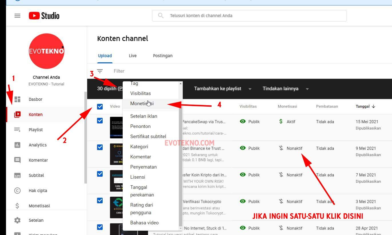Mengaktifkan Iklan Pada Semua Video di YouTube
