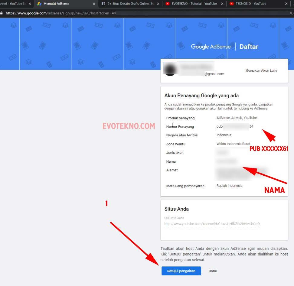 Setuju Pengaitan Channel YouTube ke Google AdSense