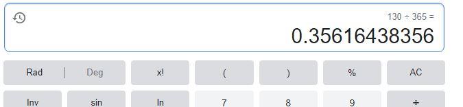 130 dibagi 365 hari - google calculator