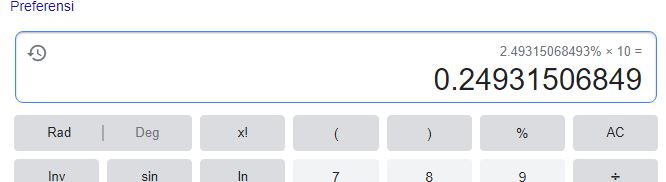 2.493 dibagi 10 cake - google calculator