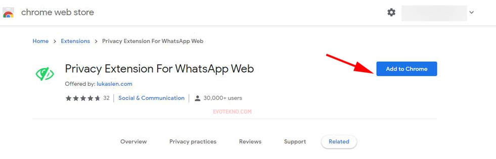 Add to Chrome - Privacy Extension For WhatsApp™ Web