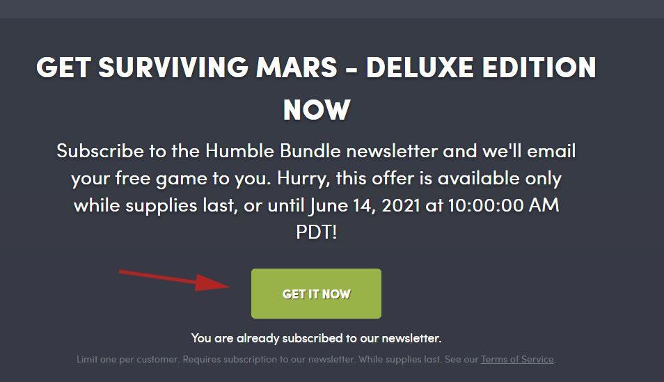 Get It Now - Humble Bundle - Gratis Surviving Mars Delux Edition