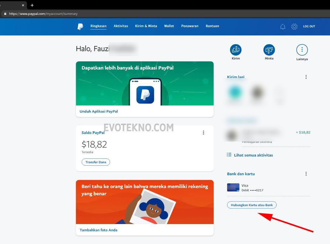 Hubungkan kartu atau bank PayPal