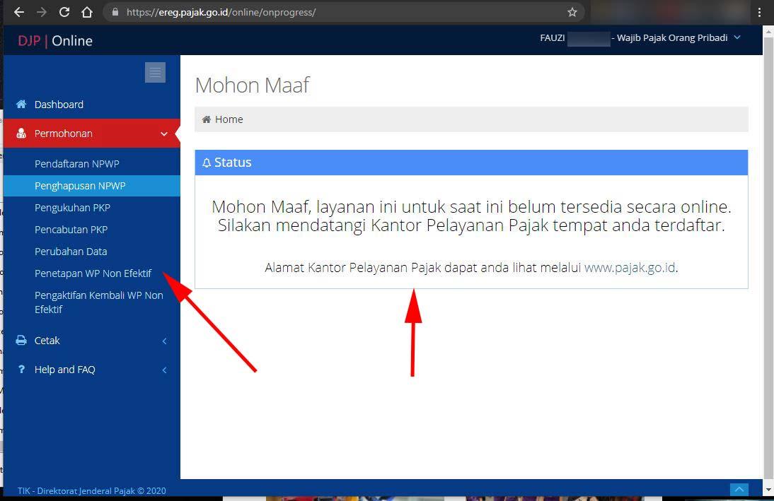 Pajak Pengaktifkan WP NE Online tidak bisa