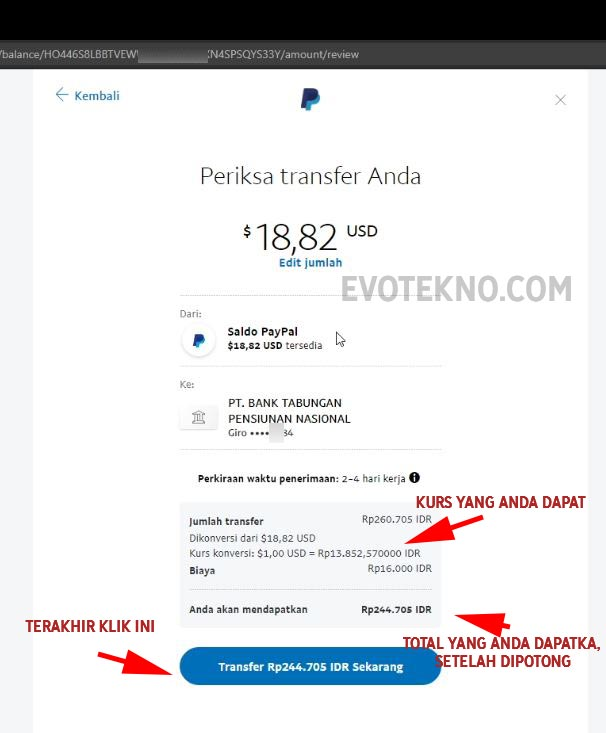 Periksa Transfer Anda - Paypal ke Jenius