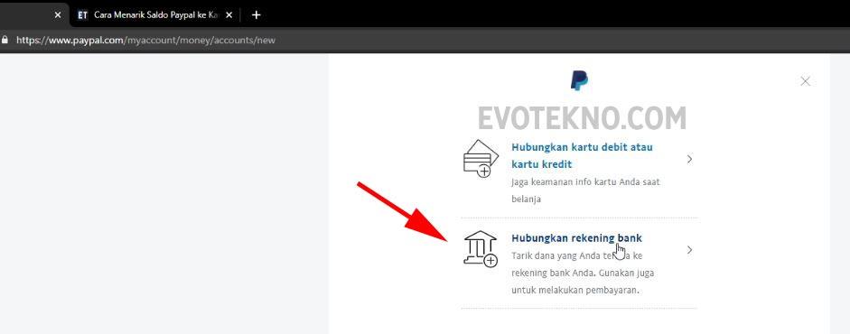 Pilih Hubungkan rekening bank - Paypal