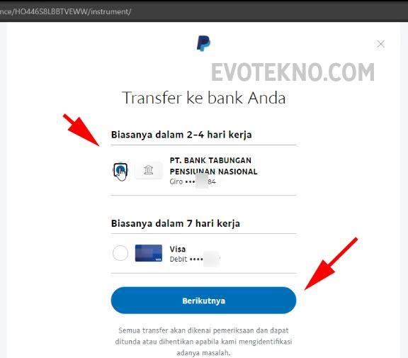 Pilih transfer dana ke rekening jenius PayPal
