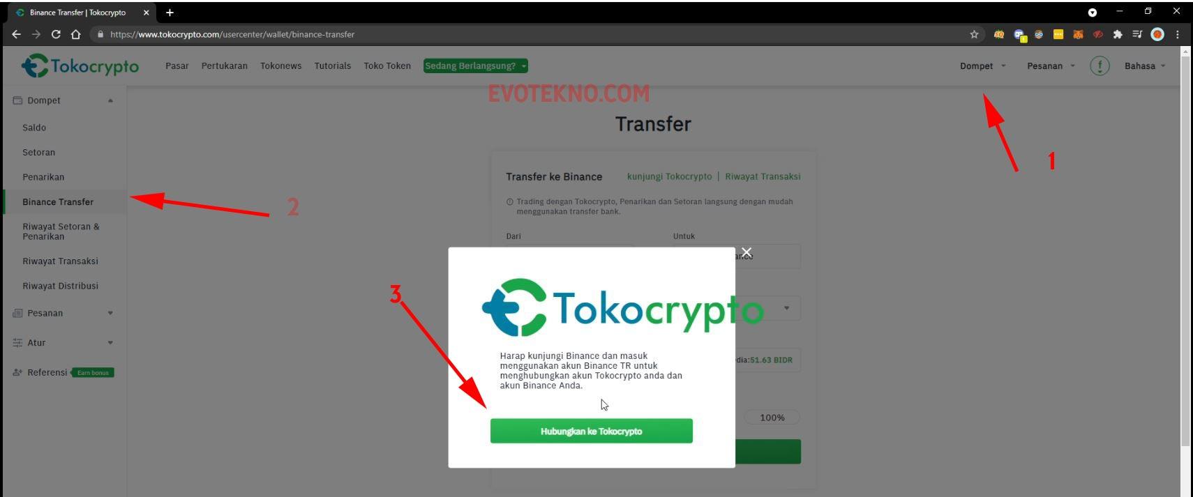 Tokocrypto - Dompet - Binance Transfer - Hubungkan ke Binance