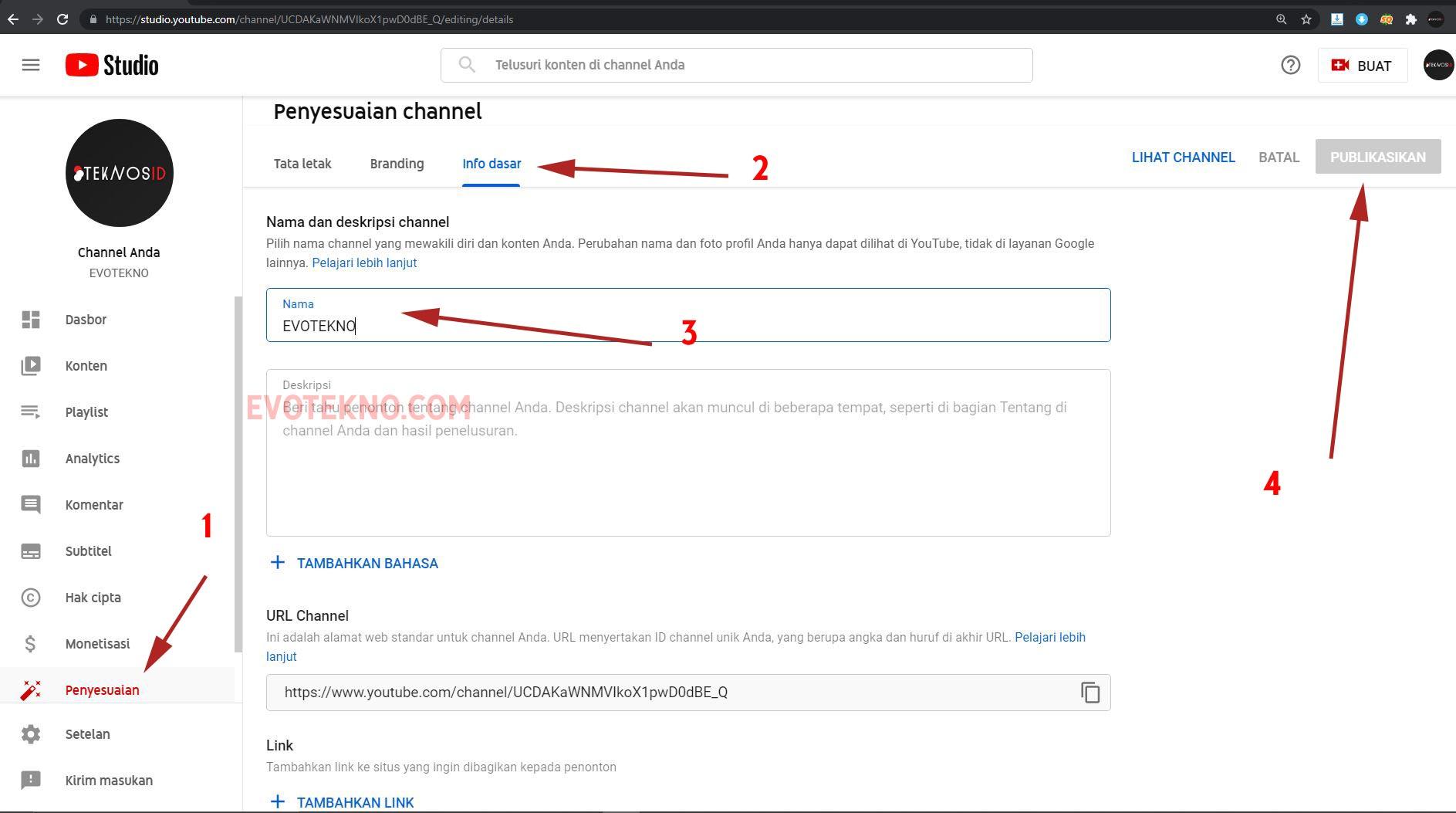 YouTube Studio - Penyesuaian - Info Dasar - Ganti Nama Channel