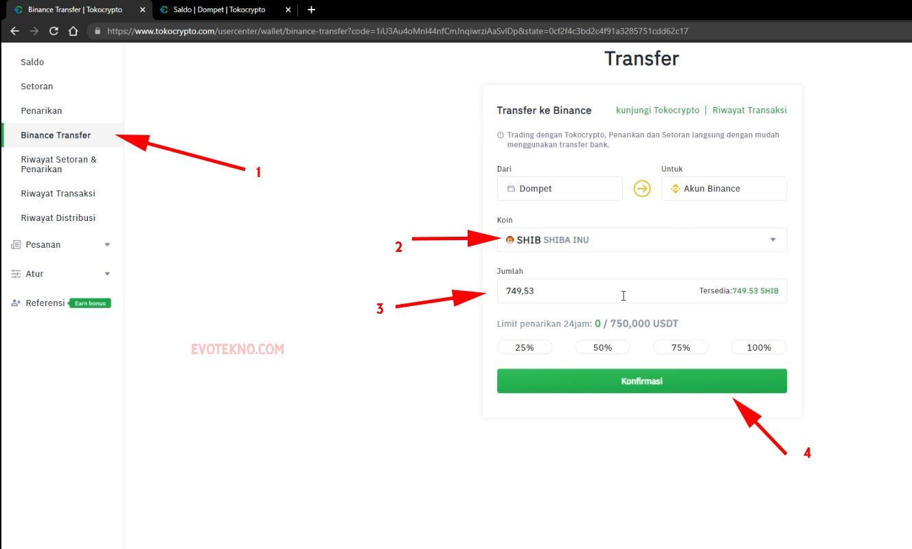Binance Transfer - Koin SHIB - Konfirmasi - Tokocrypto