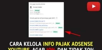 Cara Kelola Info Pajak AdSense YouTube