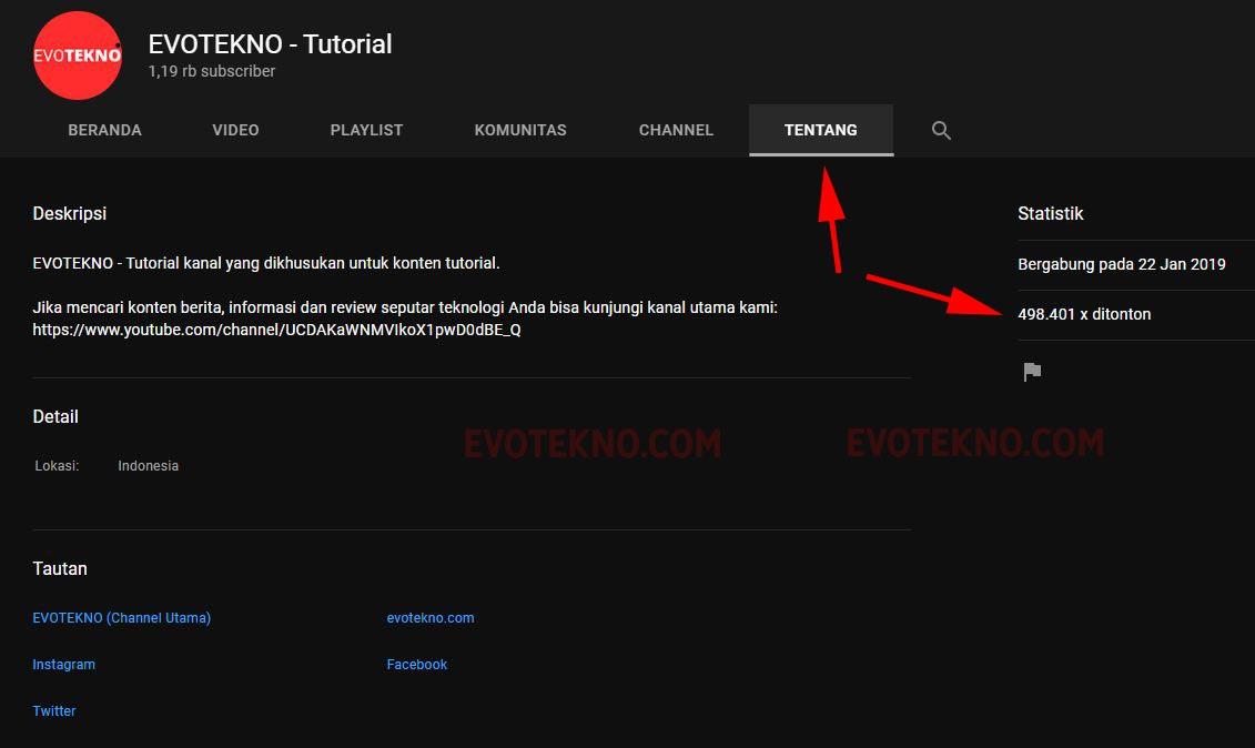 Channel YouTube - EVOTEKNO TUtorial - Tentang - Views