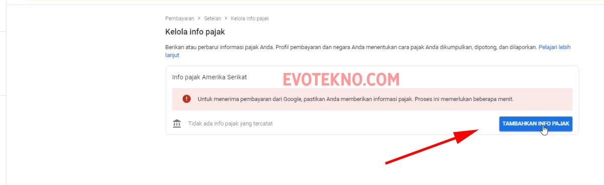 Google Adsene - Tambahkan Info Pajak